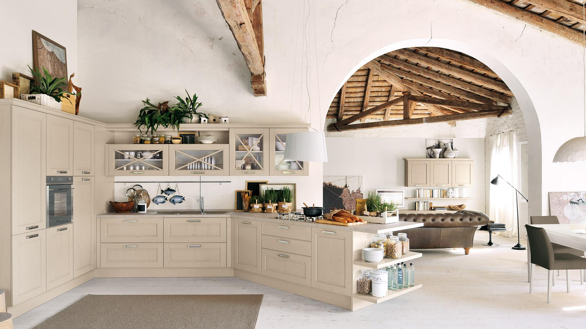 Cucina rustica le soluzioni classiche di lube store per - Cucina rustica con isola ...