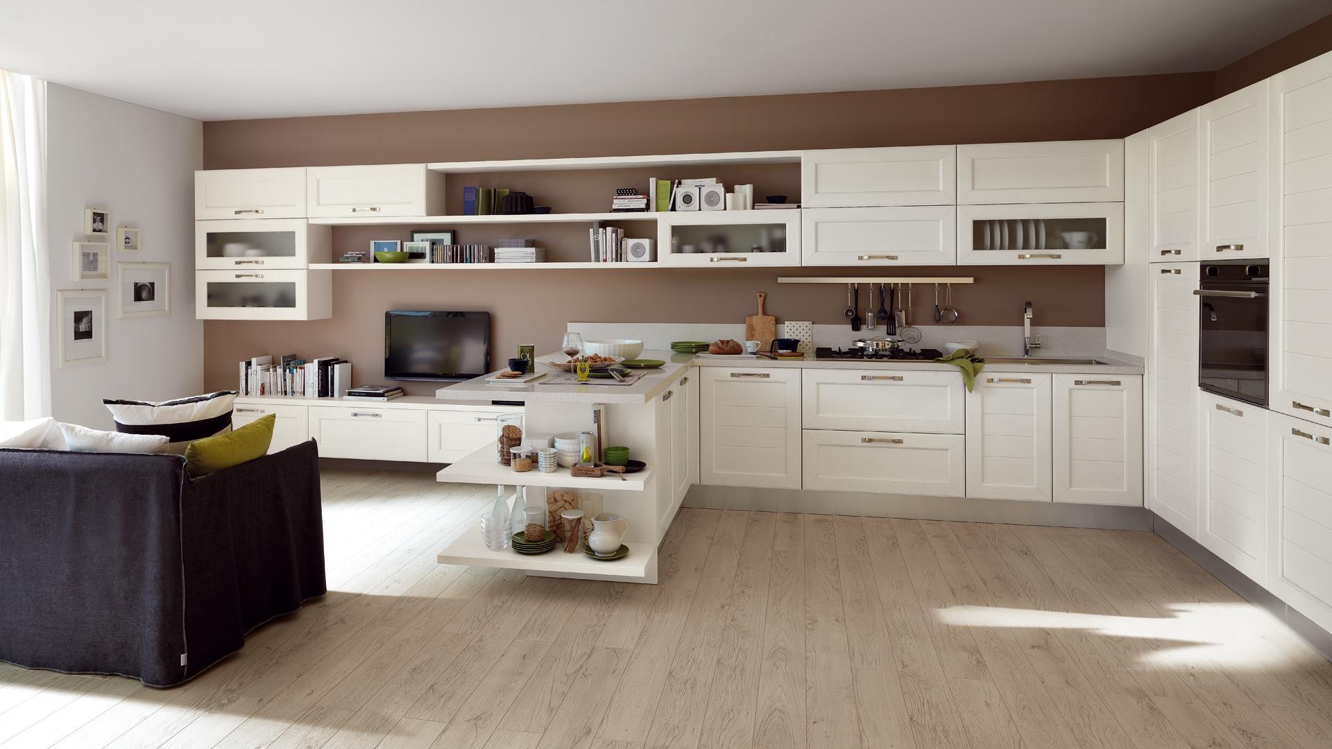 Cucina bianca 5 soluzioni per arredare proposti da lube for Cucina classica bianca