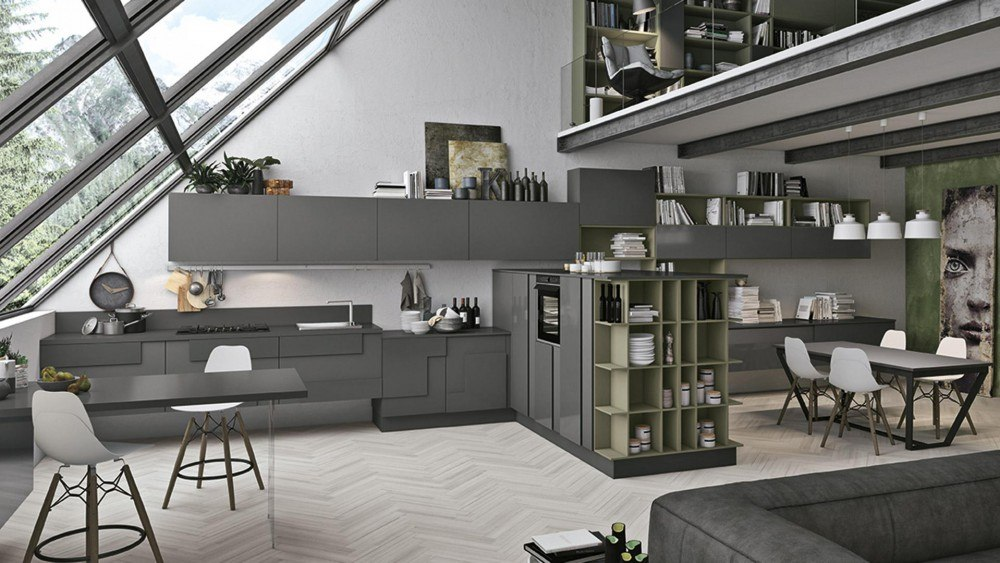 cucina soggiorno open space rustico idee per il design della casa. Black Bedroom Furniture Sets. Home Design Ideas