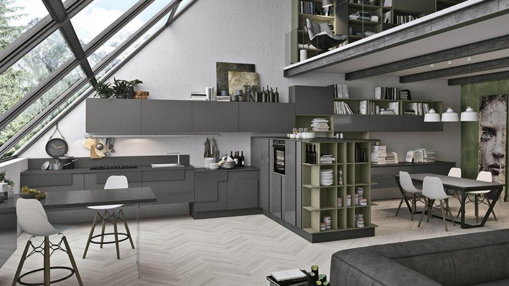 Cucina open space le soluzioni di lube store per unire for Piccola cucina open space soggiorno
